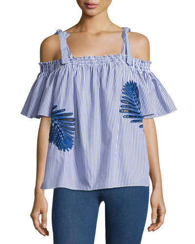Becca Embroidered Off-the-Shoulder Top, Blue/White