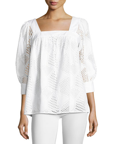 Embroidered Cotton Eyelet Square-Neck Top, White