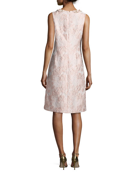 Sleeveless Floral Jacquard Cocktail Dress, Pink