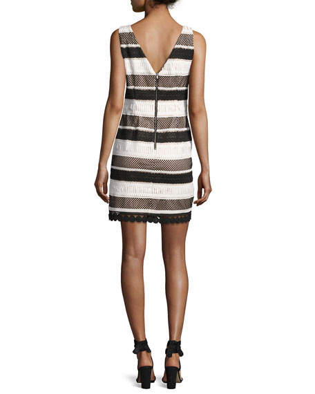 Sleeveless Striped Sheath Dress, Black/White