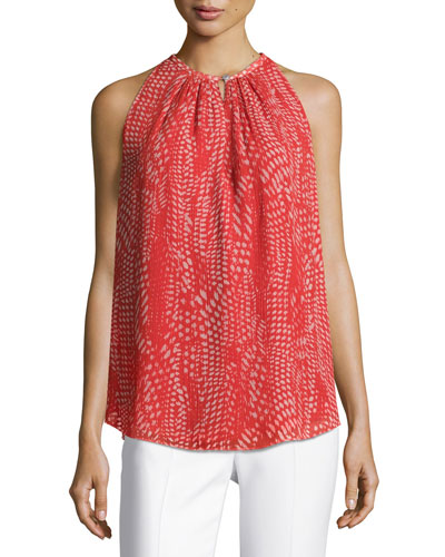 Piper Sleeveless Pleated Ibiza Geo-Print Top, Red Pattern