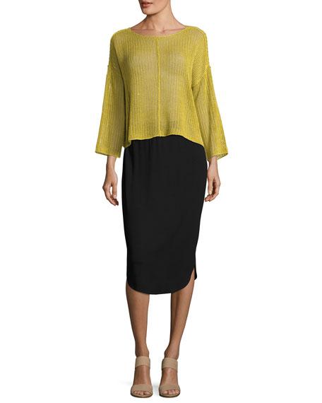 eileen fisher calf length shirttail pencil skirt black