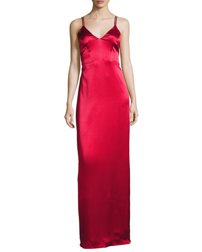 Noel Sleeveless Satin Column Gown, Crimson