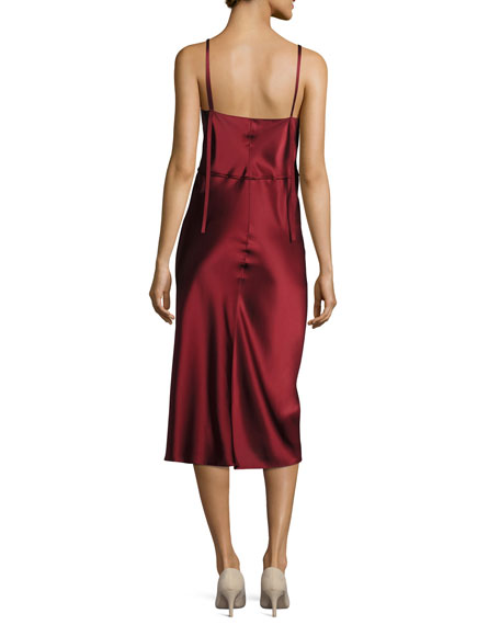 V Neck Sateen Slip Midi Dress, Red