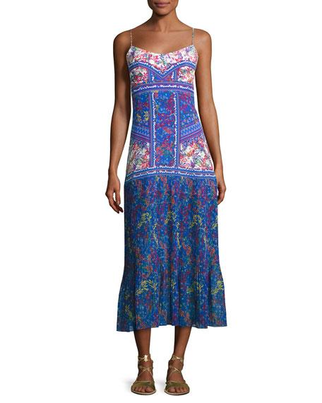 saloni pleated skirt maxi dress multi pattern