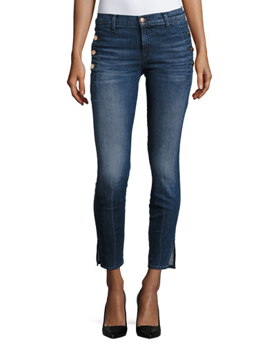 Zion Mid-Rise Skinny W/ Button Pockets, Blue