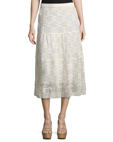 see by pleated burnout chiffon midi skirt white