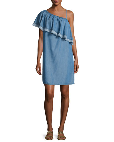 Indigo Asymmetric Fringed Chambray Dress, Medium Blue