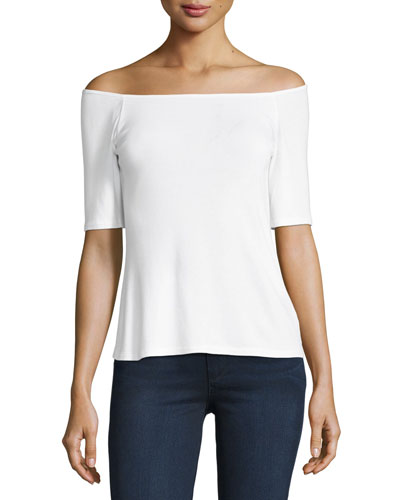 1X1 Off-the-Shoulder Top, White