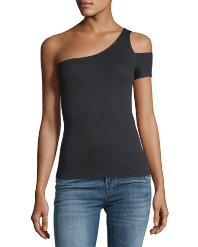 1x1 One-Shoulder Fitted Top