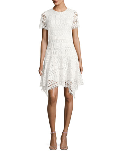 Laguna Short-Sleeve Lace Handkerchief Dress, Ivory
