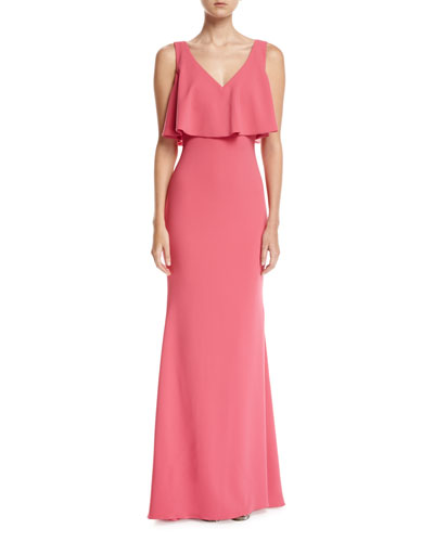 Sleeveless Crepe Popover Gown
