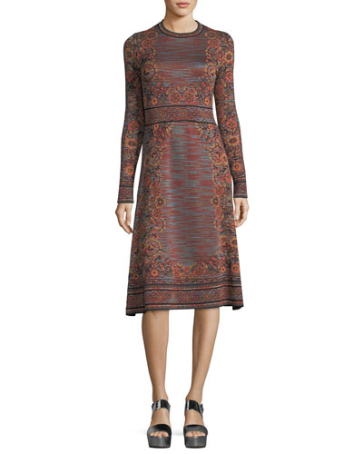 Long-Sleeve Space-Dyed Floral Jacquard Dress