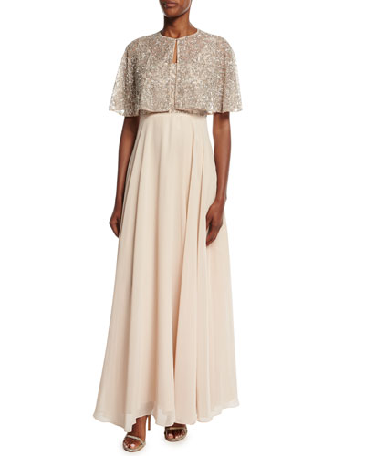 Beaded Embellished Chiffon Gown w/ Cape