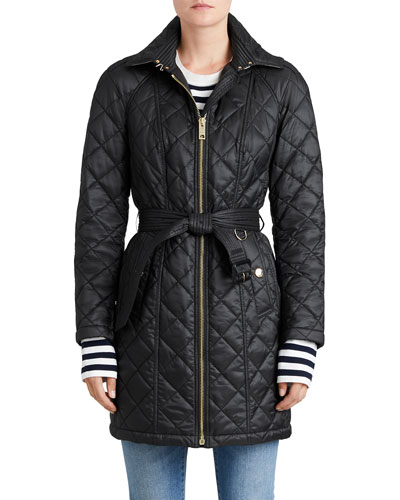 Baughton Quilted Belted Parka Jacket, Black
