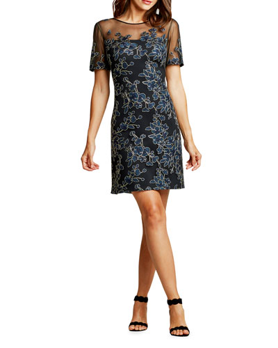 Short-Sleeve Floral-Embroidered A-Line Dress