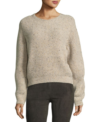 Cropped Saddle Cashmere Pullover Sweater