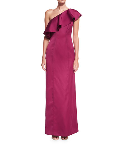 Kadence Ruffled One-Shoulder Evening Gown