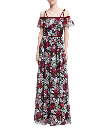 Ellie Off-the-Shoulder Floral-Embroidered Gown