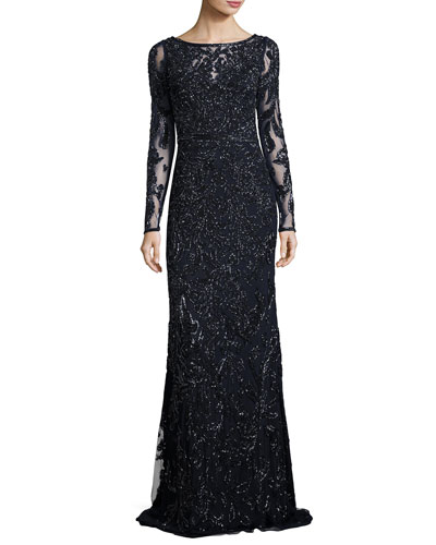Long-Sleeve Beaded Embellished Sheath Gown, Midnight