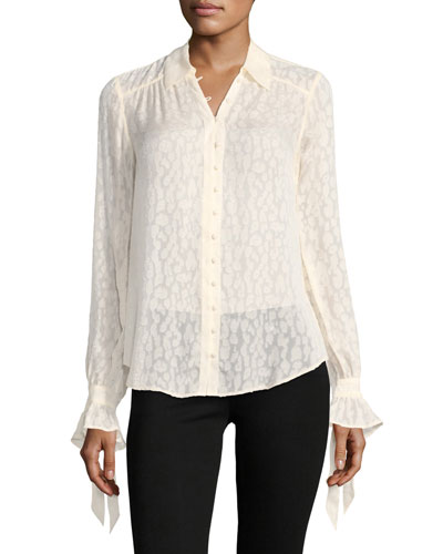 Emberly Button-Front Leopard-Jacquard Silk Blouse