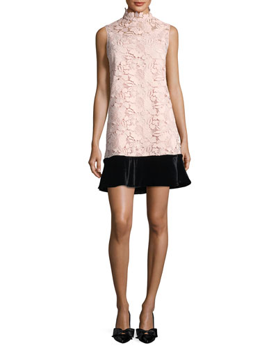 Simona High-Neck Sleeveless Lace Dress w/ Velvet Hem