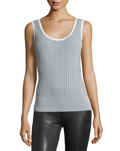 Lizzie Scoop-Neck Ribbed Cotton Tank