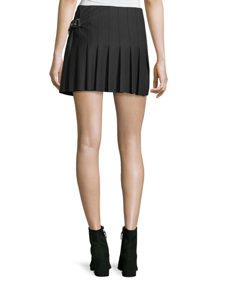 A-Line Pleated Wrap-Front Wool Skirt