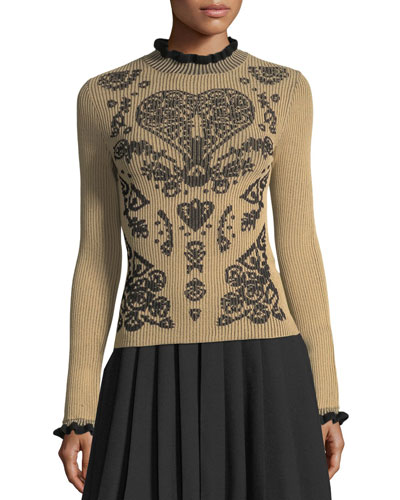 Mock-Neck Fractured-Pattern Ribbed Sweater