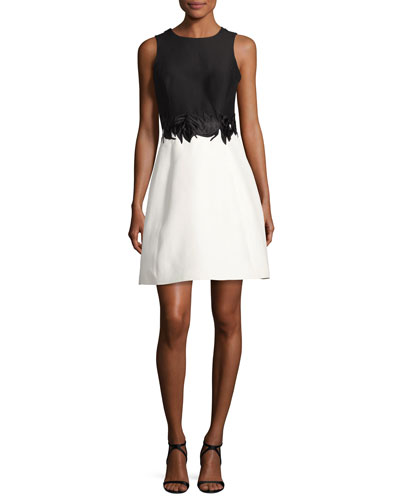 Sleeveless Round-Neck Colorblock Cocktail Dress w/ Embroidery