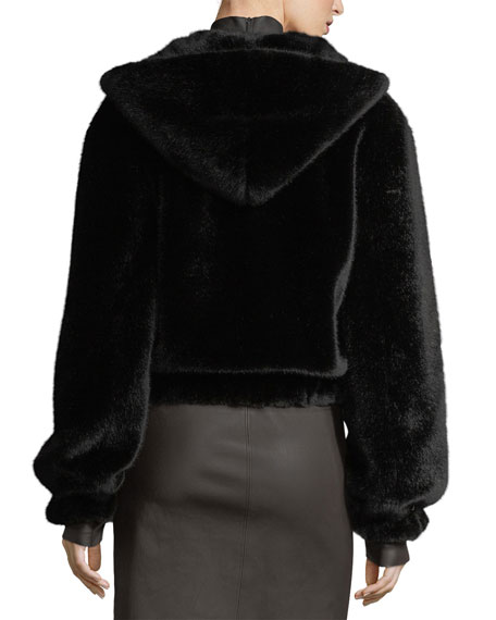 Hooded Faux-Fur Bomber Jacket
