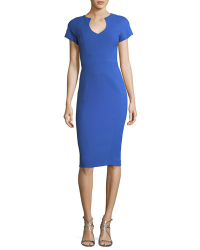 Fitted Pebble Crepe Sheath Dress