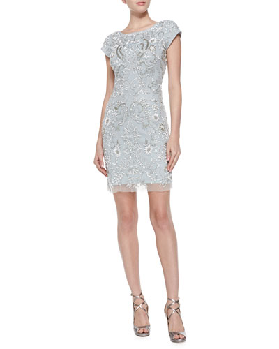 Short-Sleeve Beaded Mesh Cocktail Dress