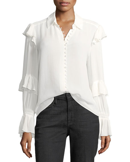 Frame Victorian Ruffled Button Front Silk Blouse