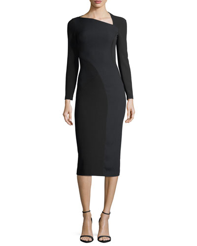 Long-Sleeve Slash-Neck Fitted Dress