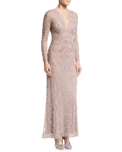 Beaded Illusion-Neck Long-Sleeve Cutout-Back Evening Gown