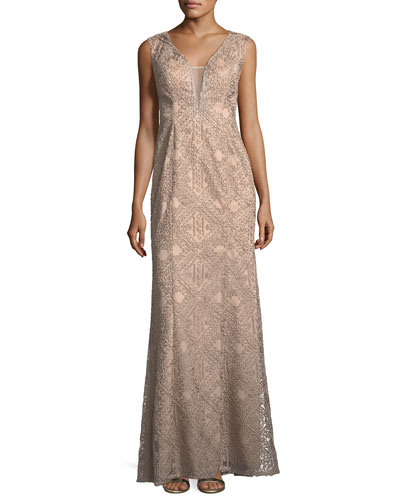V-Neck Sleeveless Soutache Column Evening Gown