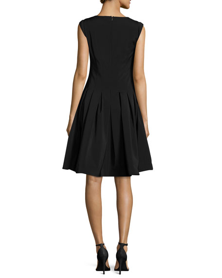 Halston Heritage V Neck Cap Sleeve Fit And Flare Cocktail