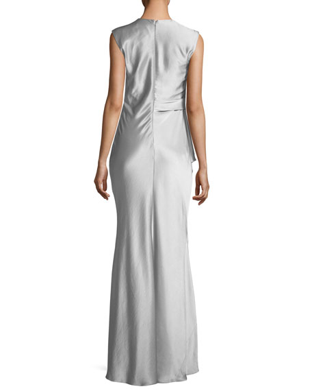 Grazia Draped Sleeveless Evening Gown