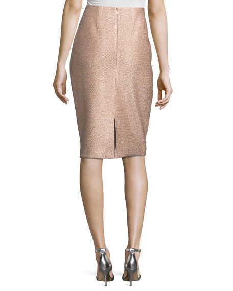 Frosted Metallic Pencil Skirt