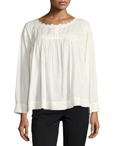 The Peasant Long-Sleeve Embroidered Cotton Top