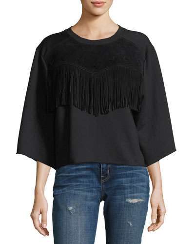 The Suede Fray Popover Wide-Sleeve Cotton Top