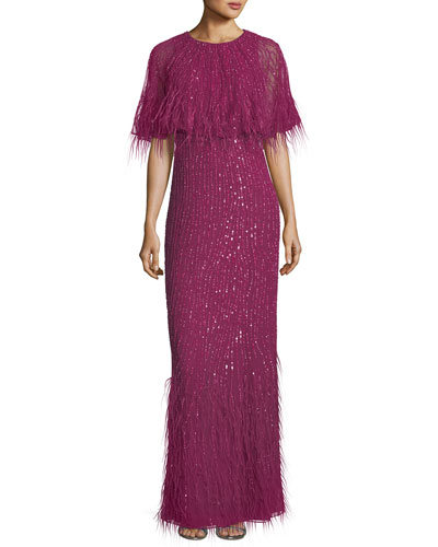 Lorena Sequined Feathered Evening Gown