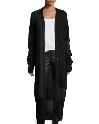 Button-Front Long-Sleeve Patched Duster Cardigan