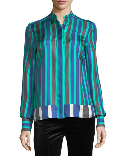 Long-Sleeve Striped Cuffed Button-Down Satin Shirt