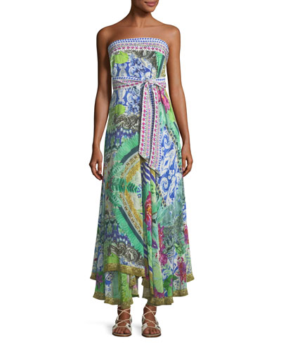 Strapless Multi-Wear Printed Silk Sarong/Dress Coverup