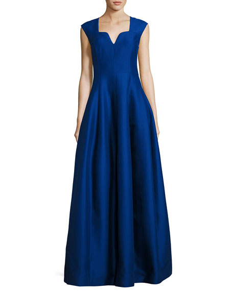 Cap-Sleeve Geo-Neck A-Line Structured Evening Gown