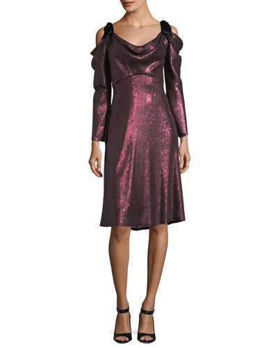 Long-Sleeve Draped Sequin Cocktail Dress