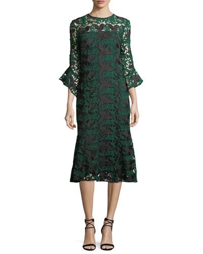 Peregrine Bell-Sleeve Floral Lace Midi Cocktail Dress