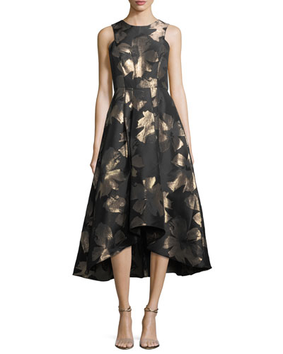Coraline Sleeveless Metallic Floral High-Low Evening Gown